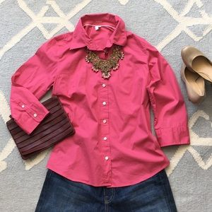 Bright Pink J.Crew Button Down Shirt / Large